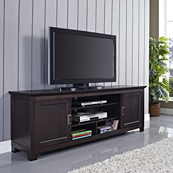 70u0026quot; Wood TV Stand With Sliding Doors In A Beautiful Espresso Brown  Finish