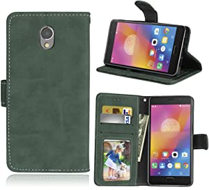 for Lenovo Vibe P2 P2a42 Case,Matting PU Leather Protection 3 Card Slots Wallet Flip Case Cover(Green)