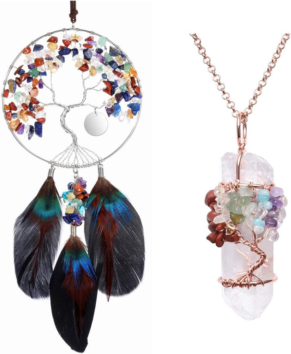PESOENTH Bundle – 2 Items:7 Chakra Tree of Life Dream Catcher Crystals Hanging Wall Decoration + 7 Chakra Tree of Life Gemstone Clear Quartz Crystal Pendant Necklace