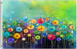 Wamika Nature Spring Summer Autumn Winter Flowers Flag 3x5 FT Rainbow Watercolor Daisy Poppy Floral Garden Yard House Flags Season Banner with Brass Grommets Indoor Outdoor Party Home Decorations
