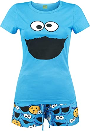 Barrio Sesamo Monstruo de Las Galletas Pijama Azulón, , con cordón Corte Normal Suelto