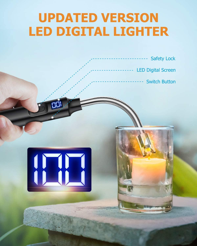 RONXS Encendedor, Encendedor de Vela Digital LED Premium, Encendedor Eléctrico de Capacidad Ultra Alta, USB Recargable, Encendedor Largo para Parrilla ...