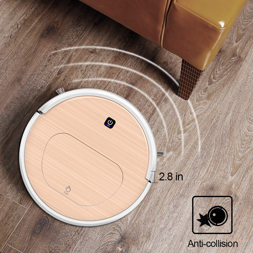FENGRUI FR-6S Robot Vacuum Cleaner and Mop Powerful Suction Remote Control HEPA Filter for Pets Dog Hair Hardwood Floor Surfaces Home Gold by FENGRUI (Image #6)