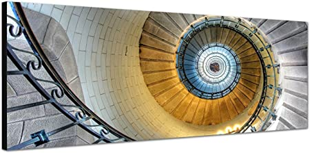Lienzo cuadro 150 x 50 cm escalera de caracol espiral edificios: Amazon.es: Hogar