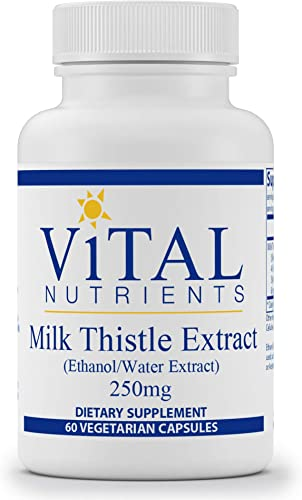 Vital Nutrients – Milk Thistle Extract Ethanol Water Extract 250 mg – Supports Healthy Liver Function and Detoxification – 60 Vegetarian Capsules per Bottle