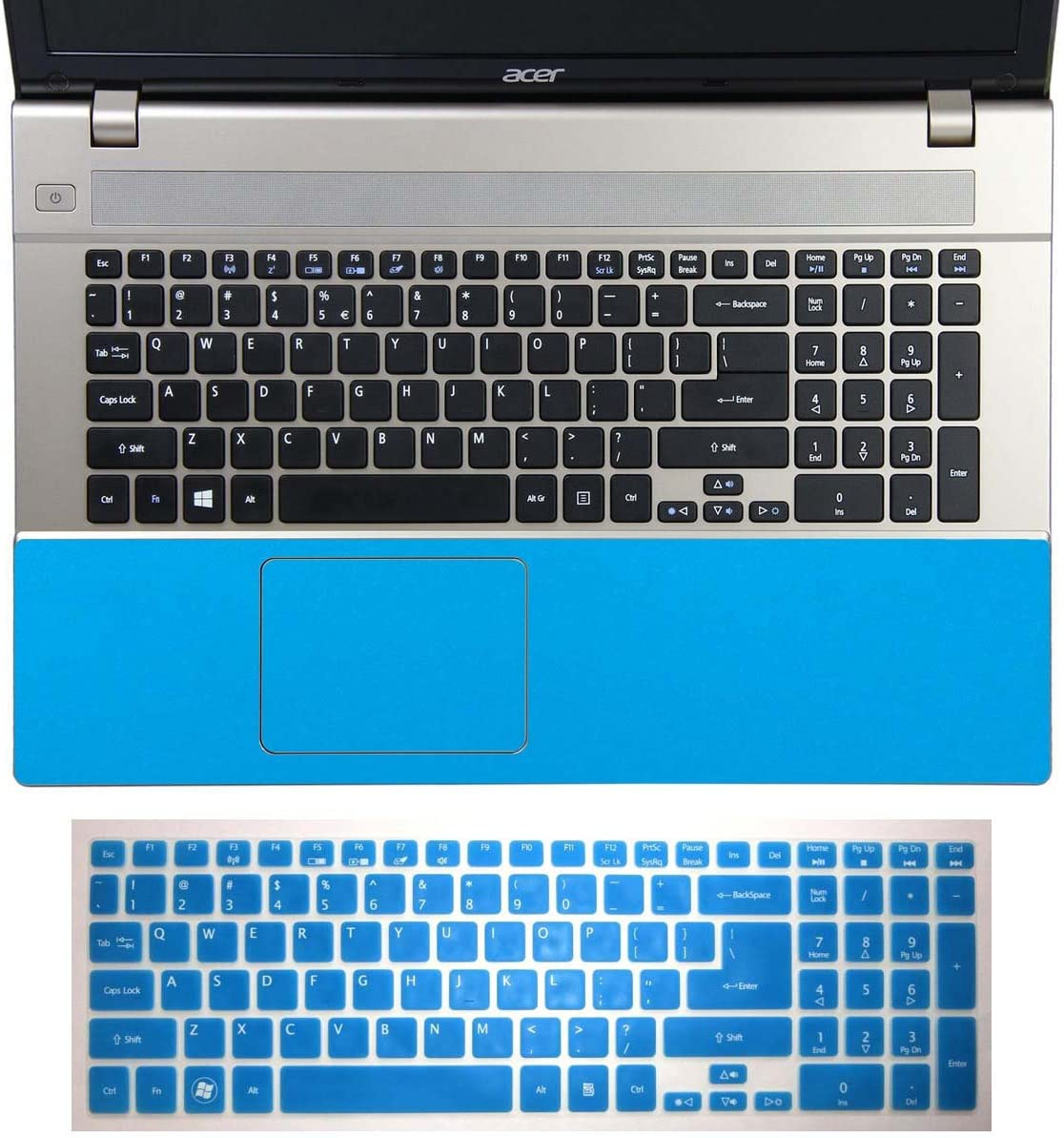 2in1 Half Wrist Palmrest Skin Sticker With Trackpad Touchpad Cover+ Keyboard Protector for 17.3'' Acer Aspire V3-772, V3-772G (shimmery light blue half palmrest sticker+semi-blue keyboard skin)