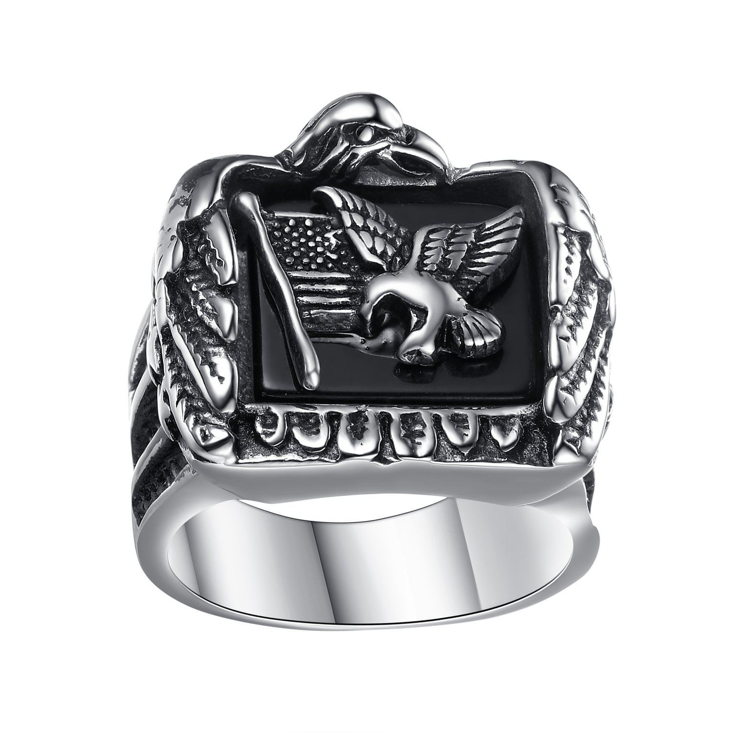 LineAve Men's Stainless Steel American Flag and Eagle Ring, Size 13, 7a5012s13