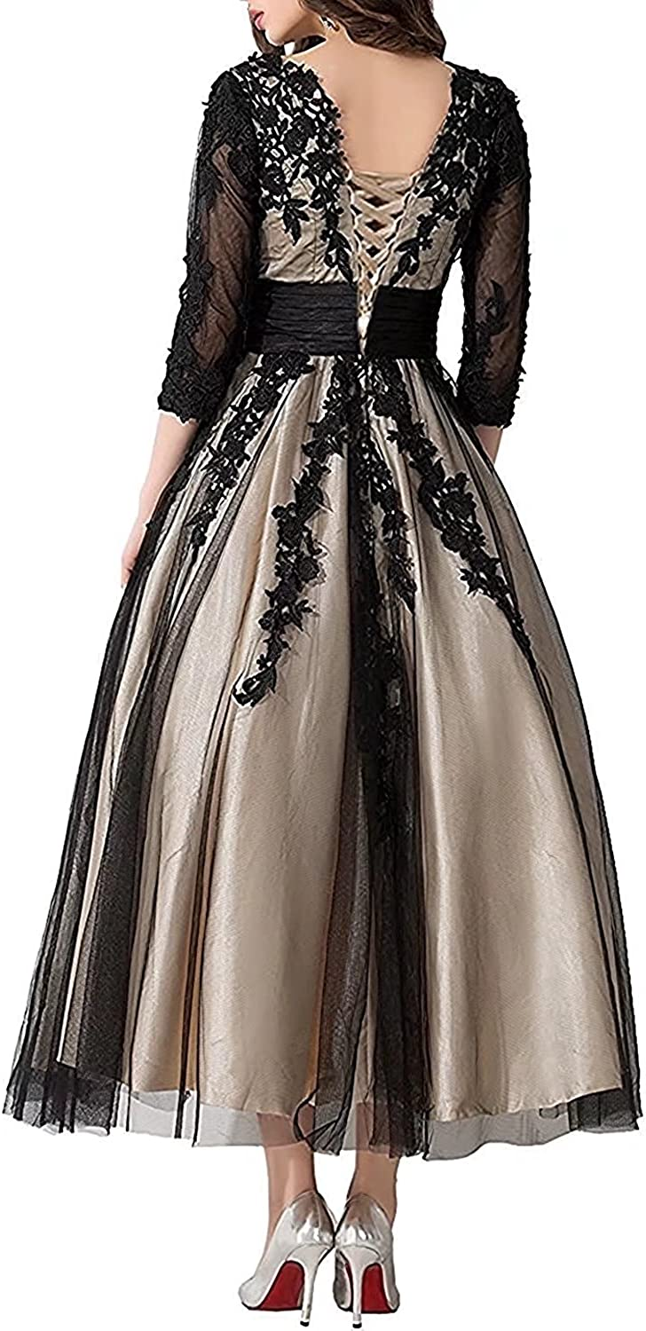 DINGZAN V Neck Ball Lace Mother of The Bride Dress with Sleeves