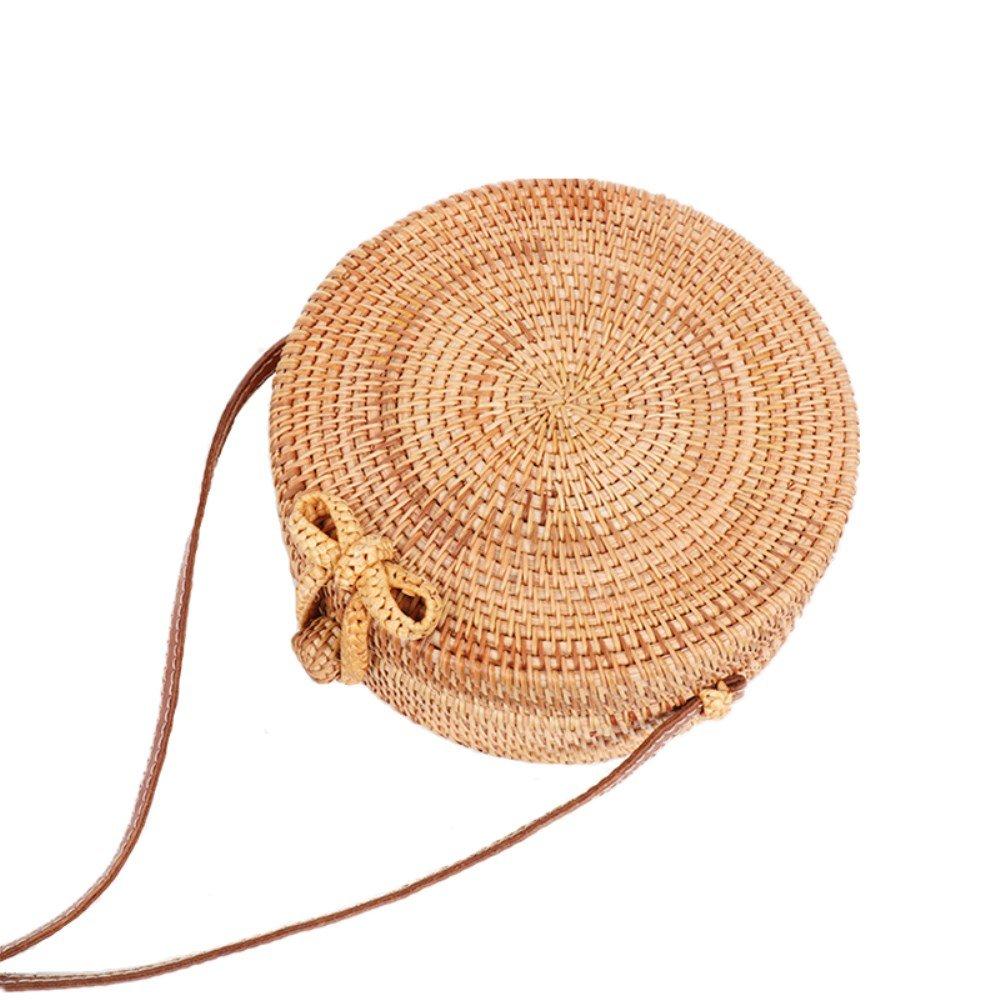 Nodykka Clutch Purses For Women Shoulder Round Rattan Bag Wicker Summer Beach Satchel