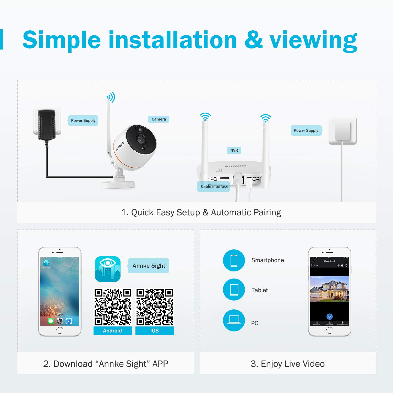 ANNKE Wireless IP Camera, 1080P 2 Pack Home Security WiFi Cameras, Plug and Play, PIR Motion Detection, Two-Way Audio, IP66 Weatherproof Indoor/Outdoor CCTV Camera, Support UP to 128GB TF Card by ANNKE (Image #6)