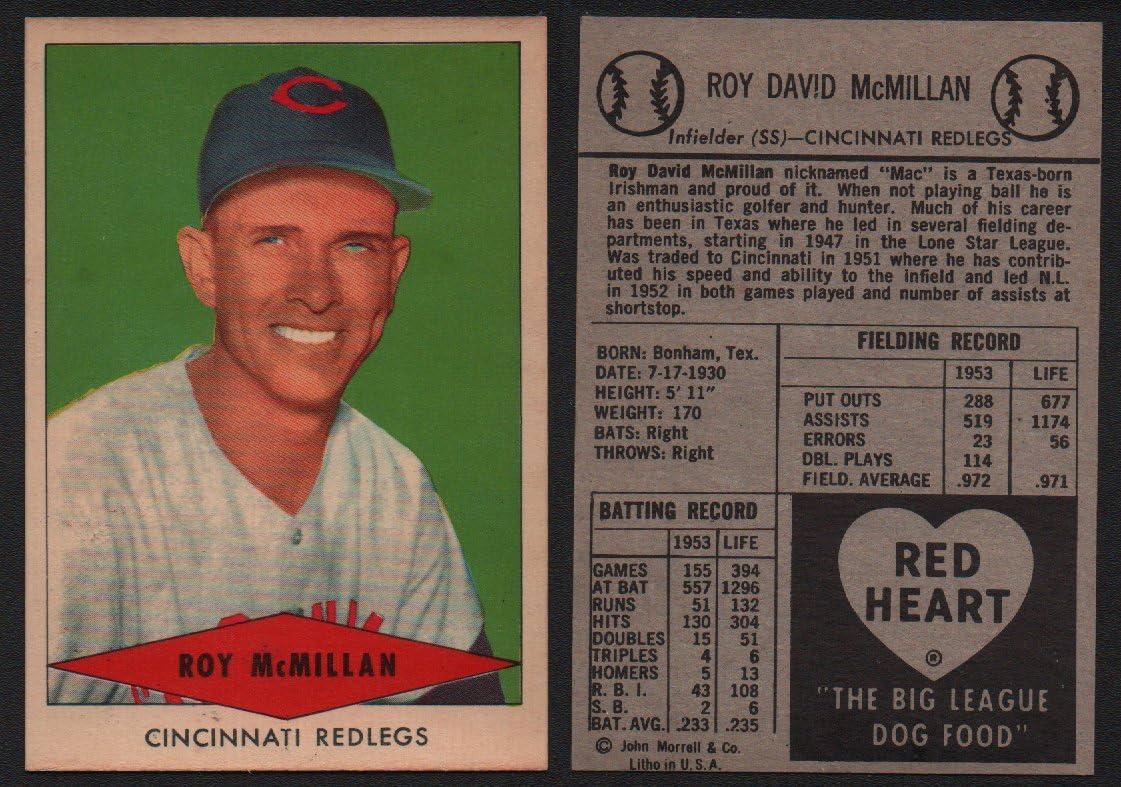 1954 Red Heart Dog Food Regular (Baseball) Card# 21 Roy McMillan of the Cincinnati Reds NrMt Condition
