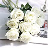 Crt Gucy Artificial Flowers Long Stem Silk Rose Flower Bouquet Wedding Party Home Decor, Pack of 6 (White)