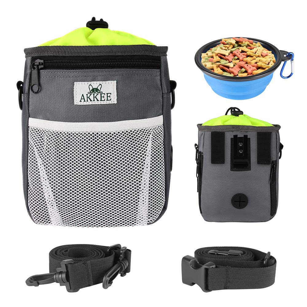 AKKEE Dog Treat Pouch for Walking Dogs, Pet Training Bag Built-in Poop Bag Dispenser, Perfect Carry Pet Toys, Kibble & Treats, with Waist Belt & Shoulder Strap + Bonus Collapsible Food or Water Bowl