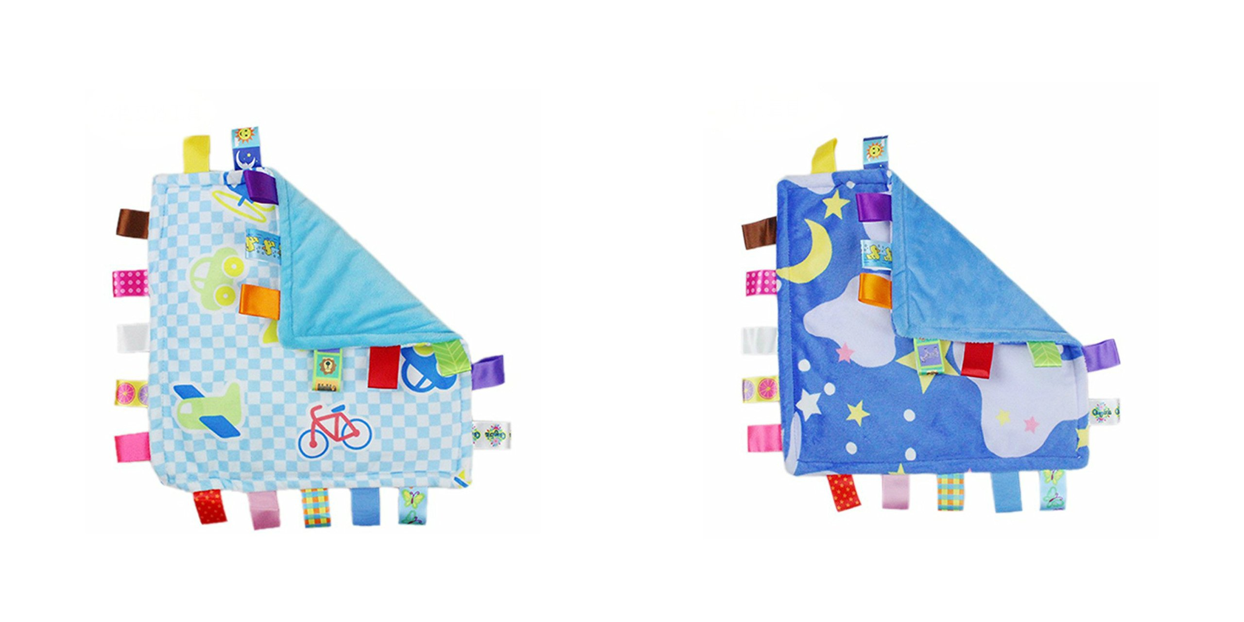 J&C Family Owned Blue Vehicle and Blue Bedtime Night Sky Taggie Style Super Soft Lovey Baby Blanket 2 Pack