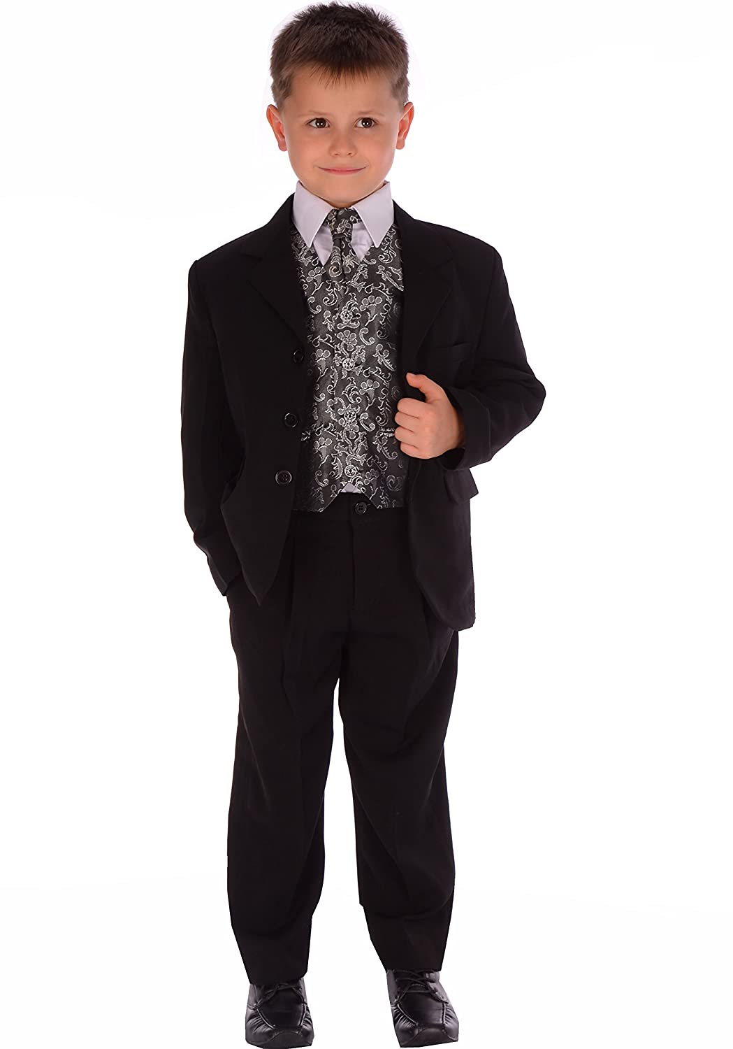 Boys Suit Black & Silver Paisley Formal Wedding Pageboy 5 Piece Suit 0-3 month to 14-15 years
