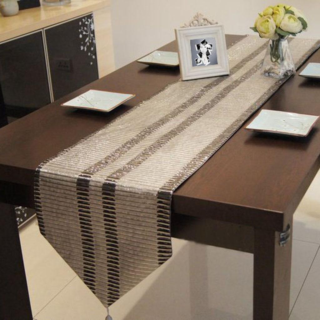 Kitzen Tassels Table Runner Tovaglietta Cuscino Per Tavolo Da Pranzo Linee Parallele argentoo E Grigio Tovaglia Geometrica Semplice, 32200cm