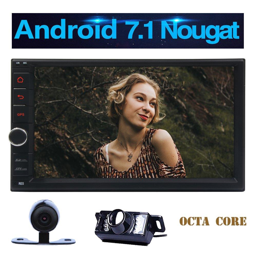無料外部マイクUSB / SD自動車ヘッドユニットプレーヤーとワイヤレスリバースカメラ+アンドロイド7.1オクタコアカーステレオシステムHD 1024×600タッチスクリーンの3D GPSナビゲーション7インチラジオのBluetooth B0778J8TC5