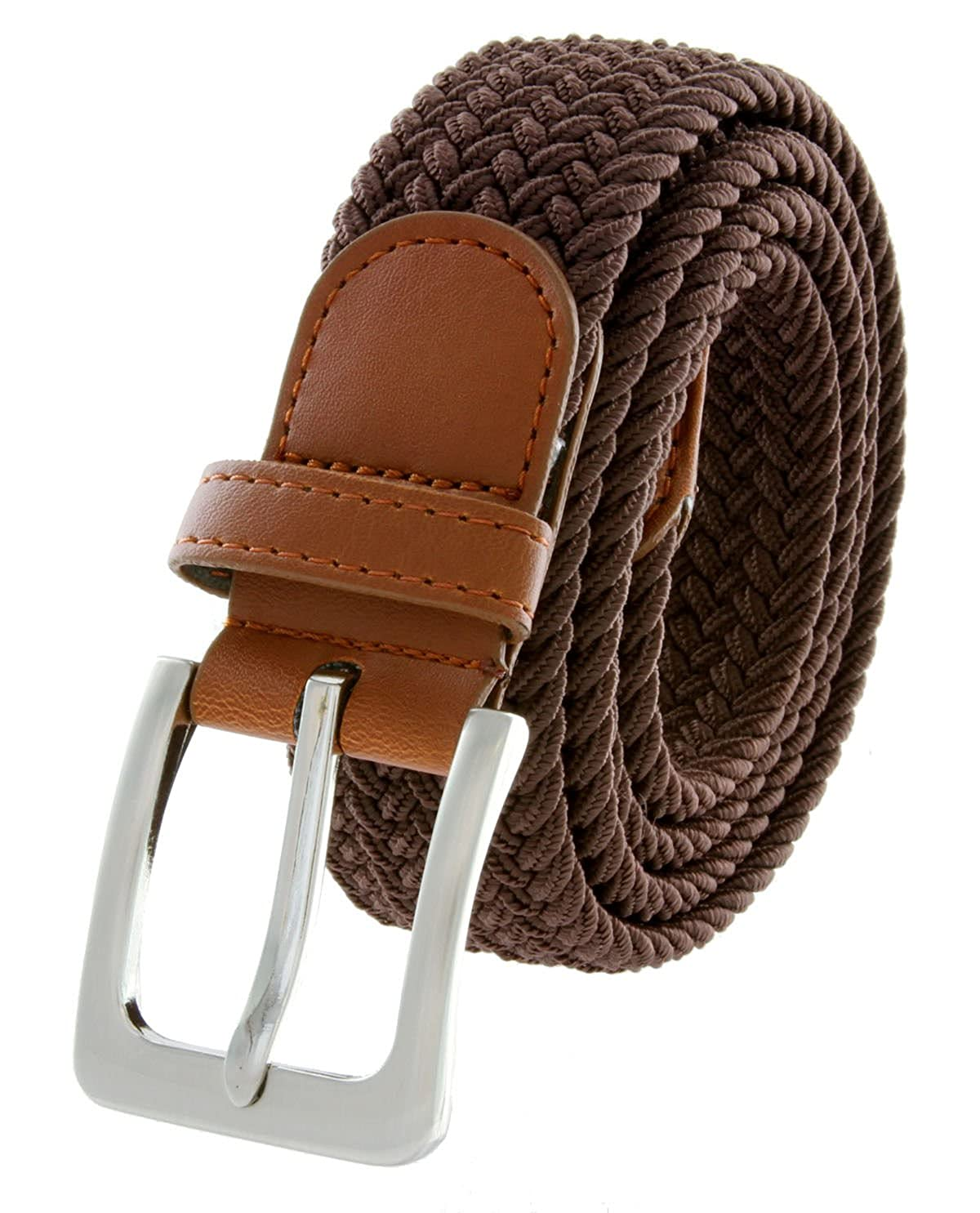 Brown Fabric Leather Elastic Woven Stretch Belt 1-3//8 Wide BSC