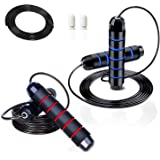 """HiActive Jump Ropes for Fitness Adjustable Speed Skipping with Extra Rope and Locks, Ball Bearings and 6"""" Memory Foam…"""