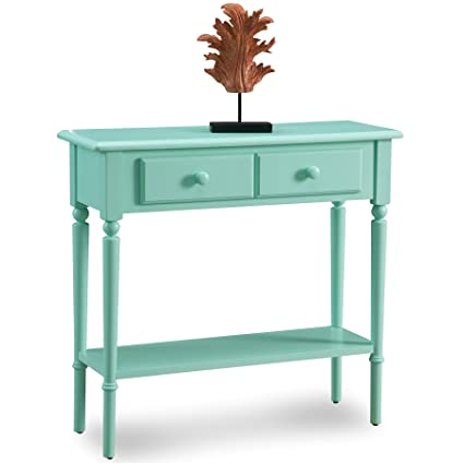 Leick 20027 GN Coastal Narrow Hall Stand/Sofa Table With Shelf, Kiwi Green
