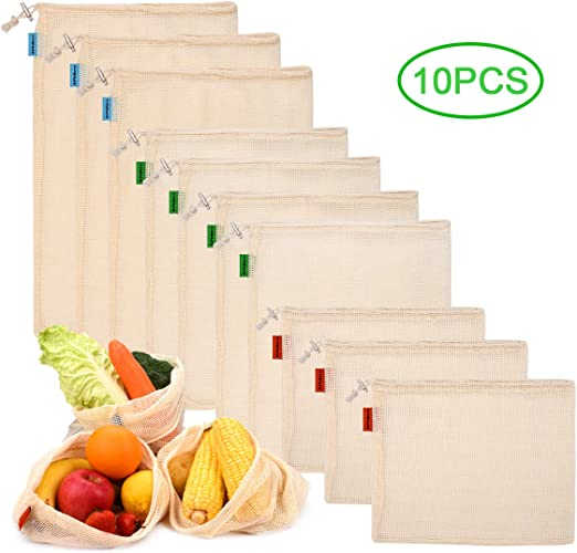 Philorn 10 Reutilizable Producir Bolsas 100% Algodón Bolsas de la Compra Reutilizables Bolsas de Malla para Fruta Vegetal Lavable Totalizador de compras: Amazon.es: Hogar