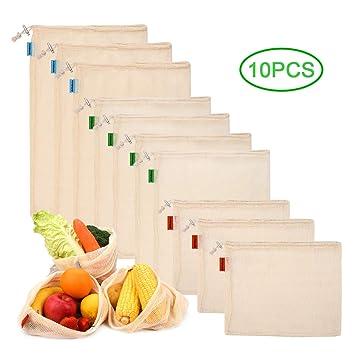 PHILORN 10 Reutilizable Producir Bolsas 100% Algodón Bolsas de la Compra Reutilizables Bolsas de Malla para Fruta Vegetal Lavable Totalizador de ...