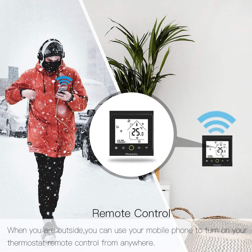 WLAN f/ähiges Thermostat und Temperatursteuerung f/ür Wasserheizung MoesGo Smartes programmierbares kompatibel mit Smart Life//Tuya App und Alexa und Google Home Schwarz