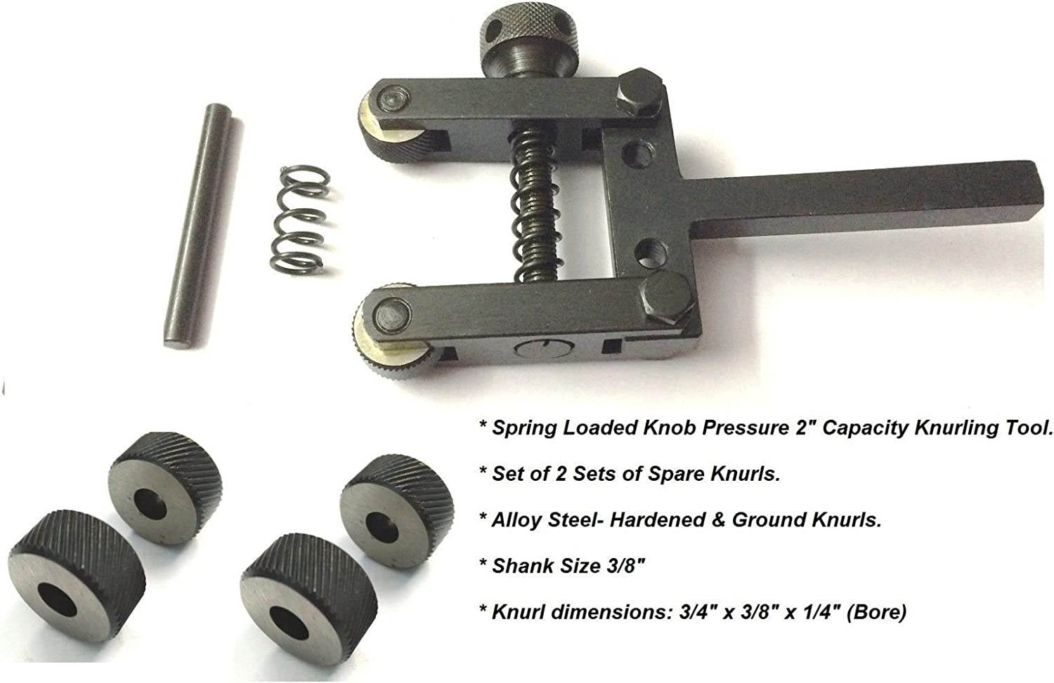 """Spring Loaded Clamp Type Knurling Tool 2/"""" Capacity for Lathes 4 Spare Knurls"""