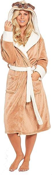 Slumber Hut/® Dames Chien Carlin Robe de Chambre Velours-Doux Luxe Polaire Femmes Animal Adultes V/êtement Nuit Taille EUR 36 /à 50