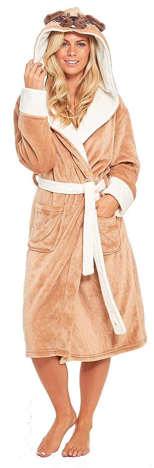 Slumber Hut® Ladies Pug Dog Fleece Dressing Gown Luxury Flannel Hooded Brown Novelty Womens Robe Velvet-Softness Size 8 up to 22