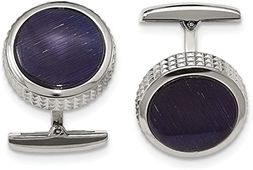 Stainless Steel Textured Round Cuff Links