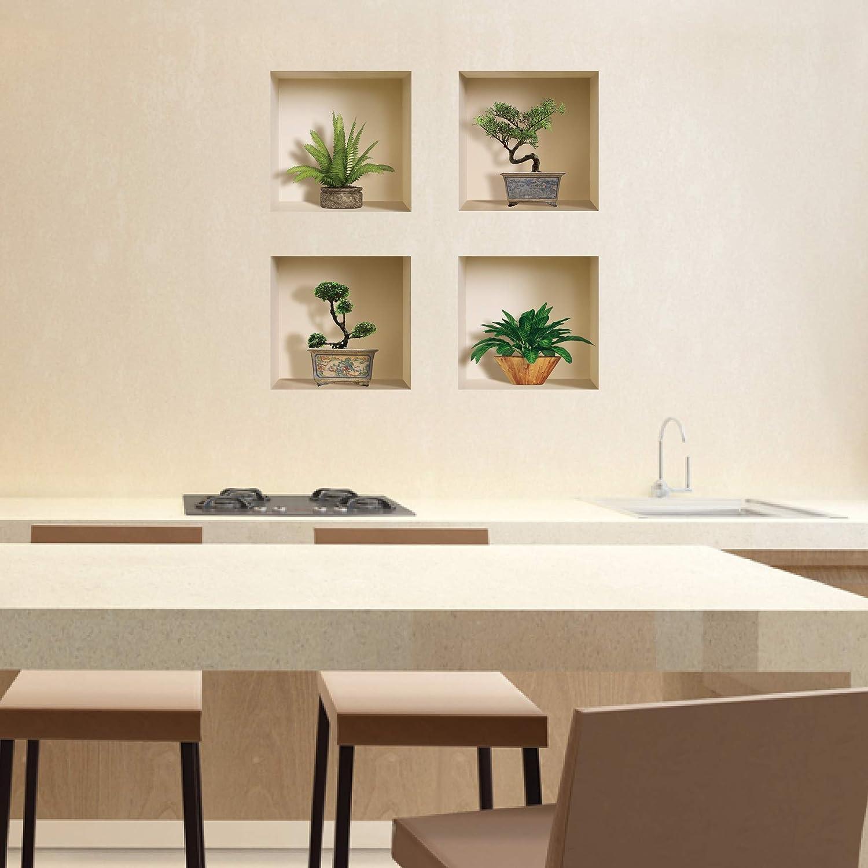 The Nisha Art Magic 3D Vinyl Removable Wall Sticker Decals DIY Green Bonsai and Plants 410 Nisha Concept Set of 4