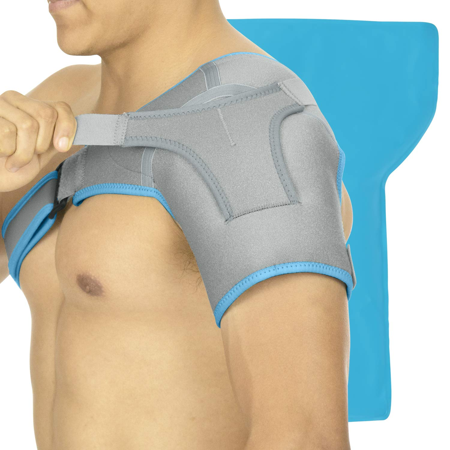 Arctic Flex Shoulder Ice Pack Brace - Cold Reusable Cool Gel Wrap, Hot Therapy - Immobilizer Compression Stability Support for Tendonitis, Dislocated Joint, Left and Right Rotator Cuff Arm Pain Relief