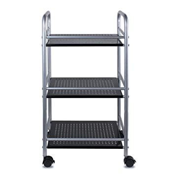 MISHOW 3 Tiers Metal Mesh Rolling Cart With Wheels Utility Storage Rack  Shelves For Kitchen Pantry