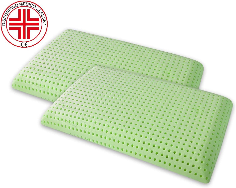 Marcapiuma – Par de almohadas de Memory Bio Green naturales con hierbas oficiales y jabón, almohadas de Memory Bio, forro 100% algodón, dispositivo médico CE, detracción, 19%, ortopédico, antiácaros