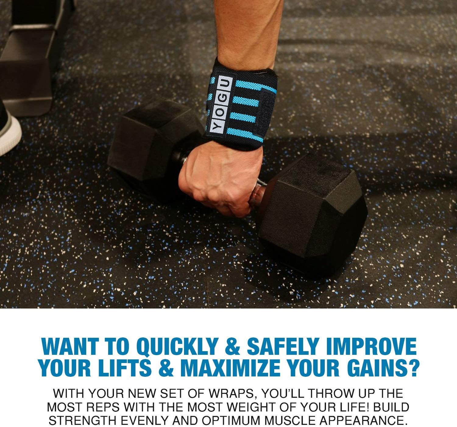 """YOGU Wrist Wraps with Thumb Loops Wrist Support Braces for Heavier Weight Lifting Xfit Powerlifting Crossfit Strength Training Gym Workouts Bodybuilding Wrist Straps 18"""" Pair with Free Carry Bag : Sports & Outdoors"""