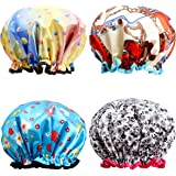 Shower Caps, ESARORA 4 PACK Extra Large Bath Caps Perfect for all Hair Lengths and Thicknesses - Waterproof - Double Layer, Upgraded Version