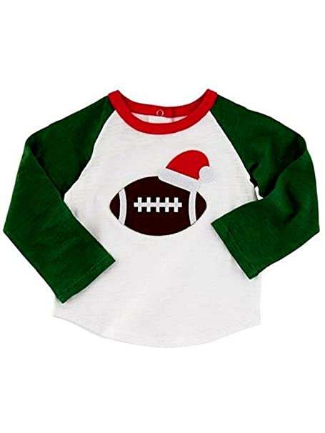 e4700d4dcc Amazon.com  Mud Pie Holiday All Boy Baby Toddler Boy Christmas Football T- Shirt Small (12-18 Months)  Clothing