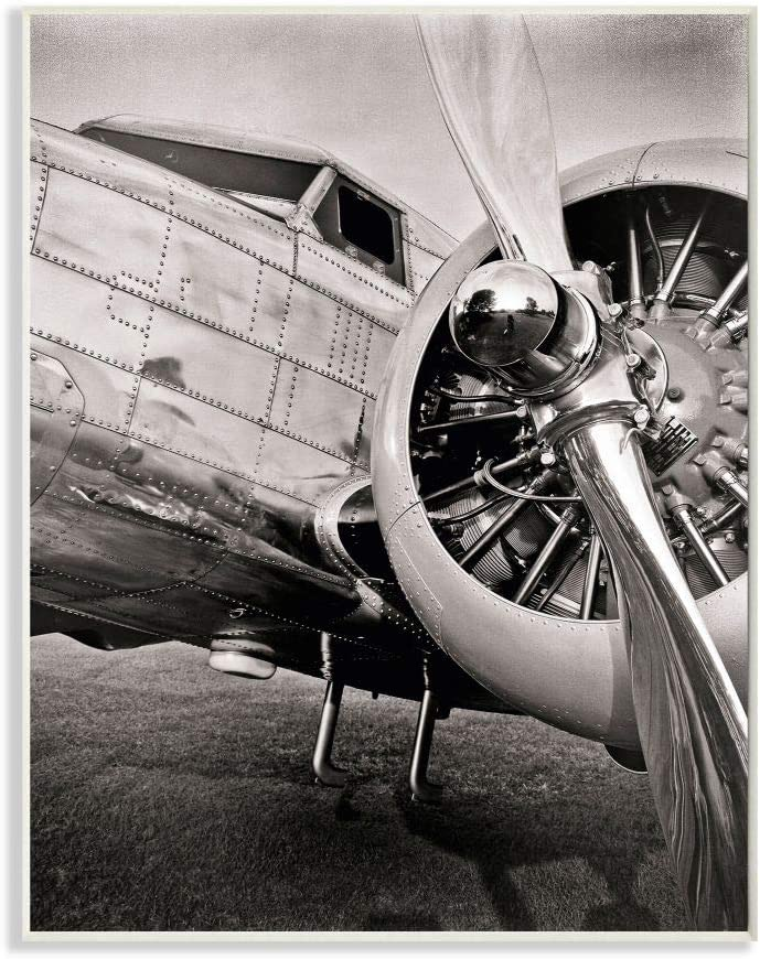 Stupell Industries Old School Vintage Airplane Propeller Black and White Photograph, Designed by John Slemp Art, 13 x 19, Wall Plaque