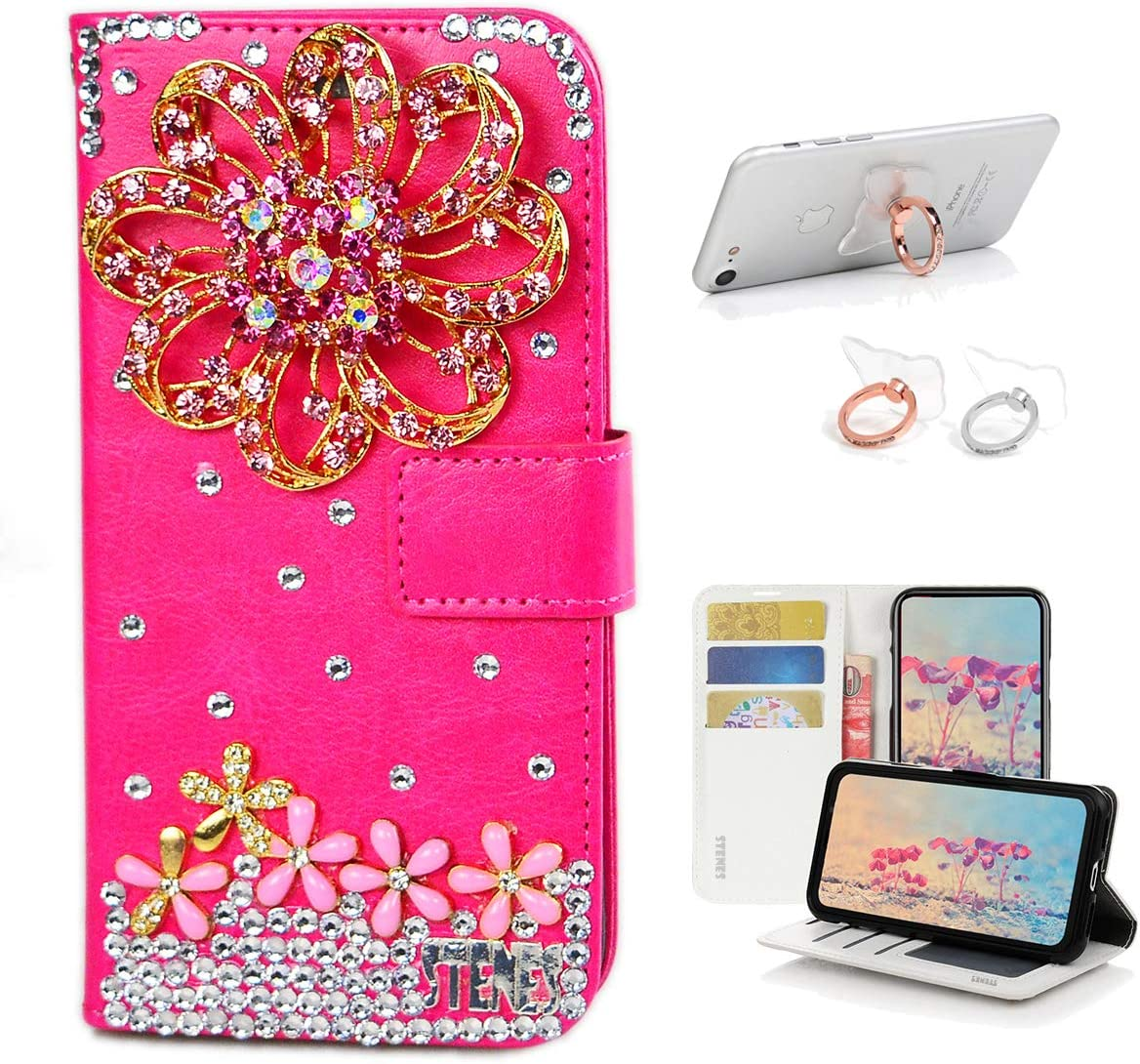 Stylish STENES Bling Wallet Case Compatible with Sony Xperia 1 2 Pack - Red 3D Handmade Crown Ballet Girls Lipstick High Heel Pumpkin Car Leather Cover with Ring Stand Holder