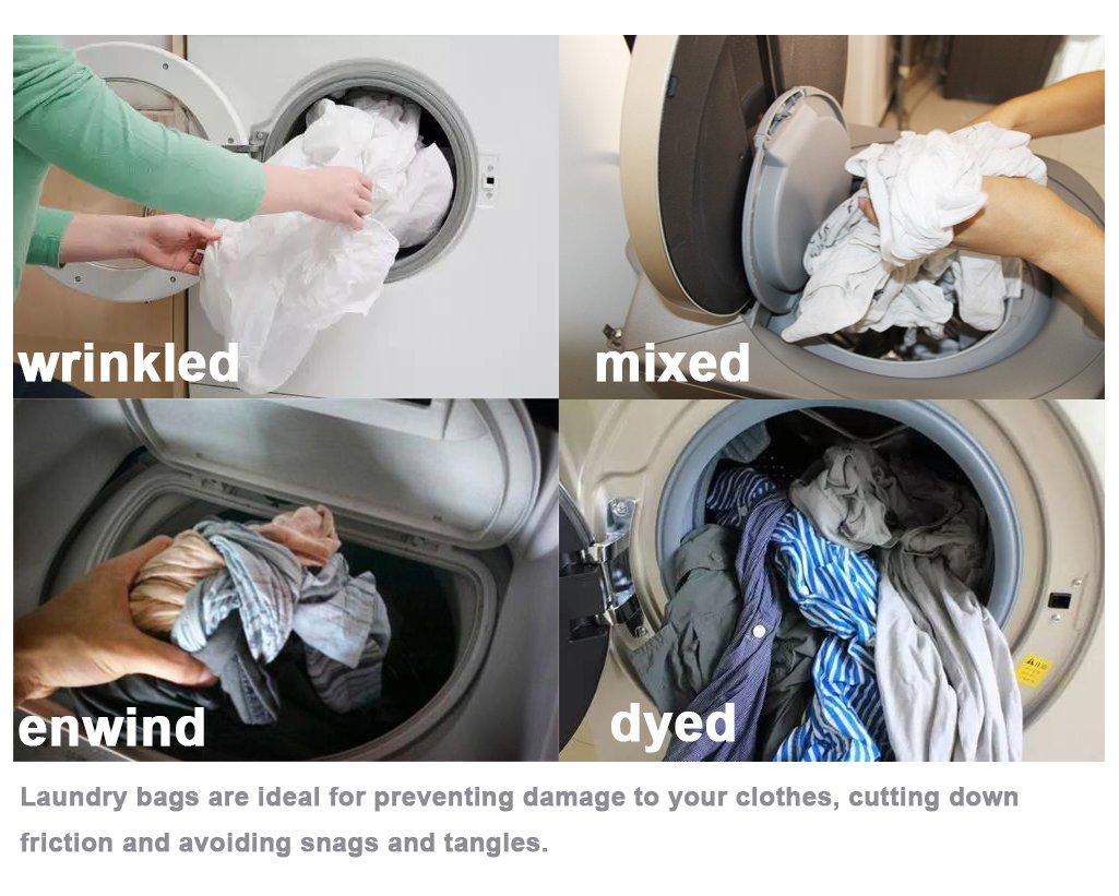 Meowoo-Bolsa de lavander/ía de Malla con cord/ón Bolsa de lavander/ía Blanca para Lavadora 1pc
