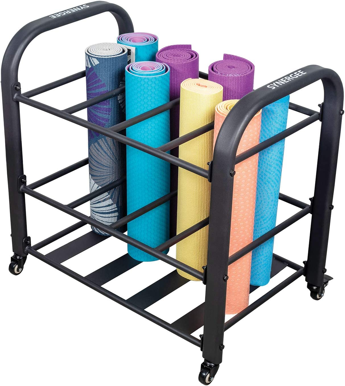 Amazon Com Synergee Yoga Mat Storage Rack Storage Cart For Yoga Mats Foam Rollers Mobility Equipment Perfect For Yoga Studio Or Commercial Gym Sports Outdoors