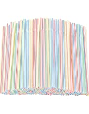 """Flexible Plastic Straws 200 Pack - Striped Multi Colored BPA-Free Disposable Bendy Straw 8"""" Long - by YANGTE"""