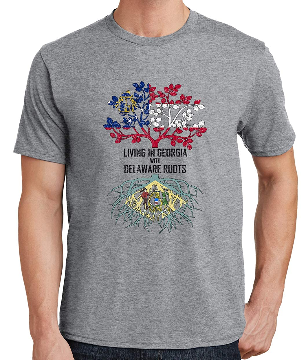 Tenacitee Mens Living in Georgia Delaware Roots T-Shirt