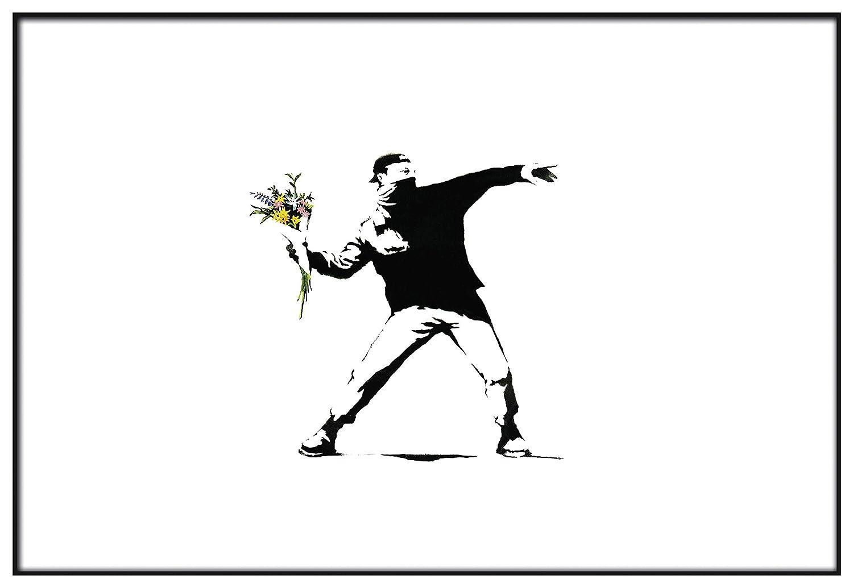 Decorazione Parete Stampe da Parete Moderne Panorama/® Poster Stampe da Parete Graffiti Banksy Lanciatore Fiori 30 x 21 cm Quadri Moderni Soggiorno Stampato su Carta 250 gr Alta qualit/à