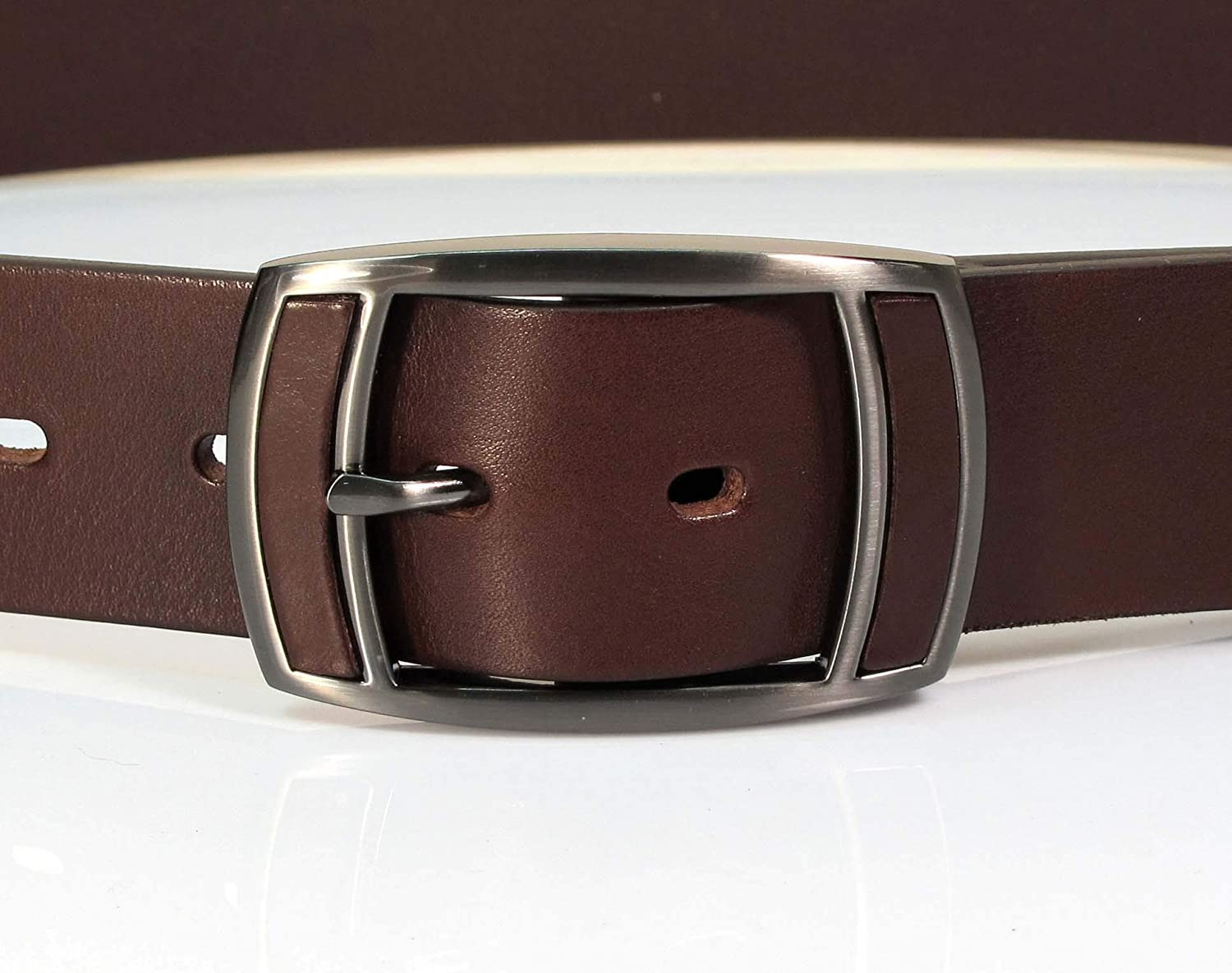 Mens Real Genuine Leather Belt Black Brown White 1.5 Wide S-L Casual Jeans CA1