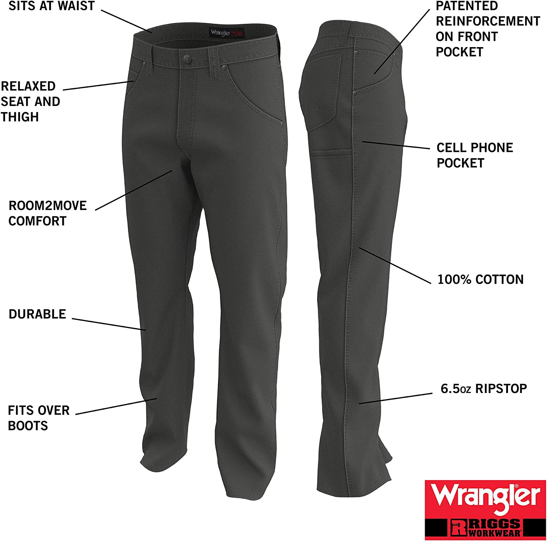 Dark Khaki Wrangler Riggs Workwear Mens Technician Ripstop Pant 42x34