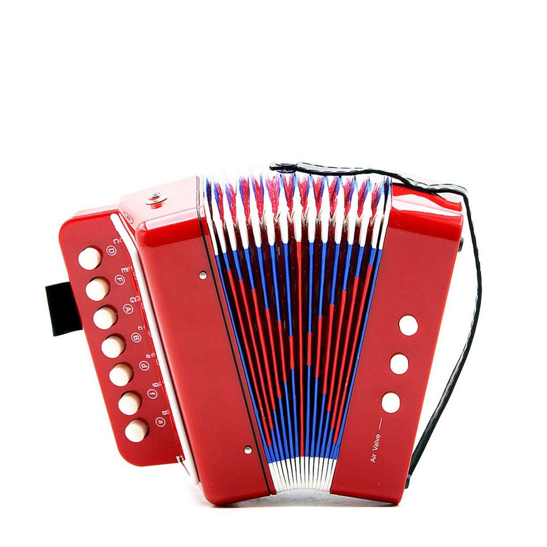 Qewmsg 1PC Mini Kids Accordion 7-Key Educational Childrens Practice Music Instrument
