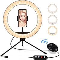 Iunusi 10 Inch LED Ring Light with Tripod Stand and Phone Holder