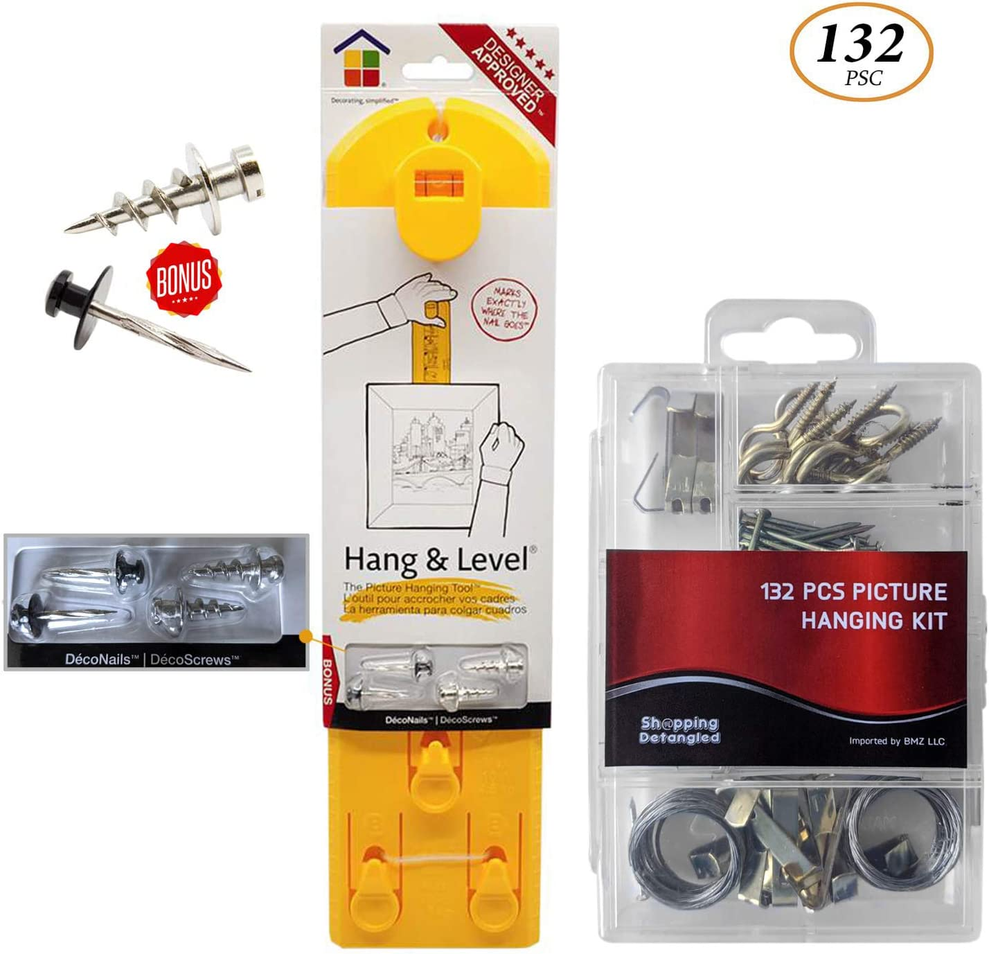 【New 2020 Version】Picture Frame Hanger Kit, Easy Frame Hanger, Picture Hanging Tool- Original Hang & Level Tool Bundled w/ 132 Pcs Assorted Picture Hanging Hardware Bonus DécoNails & DécoScrews
